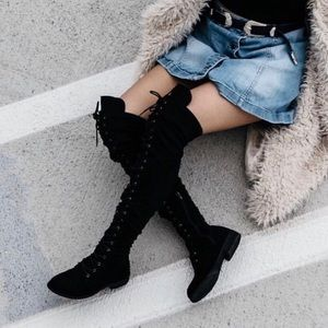 Thigh High Suede Lace Up Black Boots